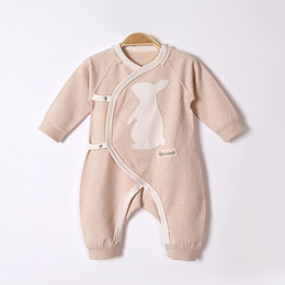 Wholesale Christmas Baby Clothes - 2017 autumn and winter newborn baby clothes baby long-sleeved jeans cartoon pattern oblique lapel tie color cotton baby conjoined clothing