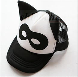 Wholesale Kids Panda Baseball Hat - Kids Ins Hats Mesh Grid Caps Fashion Cartoon Beanie Ins Baseball Caps INS Batman Clouds Hats Panda Tiger Hats Baby Printed Ins Caps A136 300