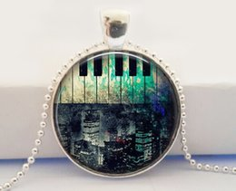 Wholesale Accessories Wholesale New York - Hot Fashion Rustic Piano New York City Necklace, Piano Jewellery, Piano Necklace, Piano Accessory glass dome cabochon necklace