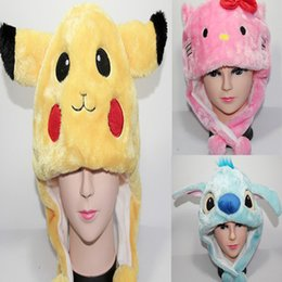 Wholesale Earflap Hat Adult - Poke Hello Kitty Sitch Plush Hat Mens Womens Fashion Casual Earflap Cosplay Cap Hollween Christmas Party Wholesale Free Shipping