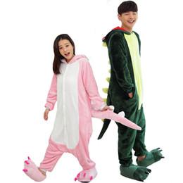 Wholesale Dinosaur Pyjamas - Cute Adult Couple Pajamas Unisex Cartoon Pyjamas Winter Dinosaur Animal Pyjamas Set Sleep Home Wear Hooded Garment