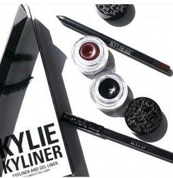 Wholesale Eyebrow Cream - Kylie Gel Eyebrow Liner Kit BRAND NEW Kylie Jenner Kyliner Black Brown With Eyeliner Gel pot Brush (1 set =1 eyeliner+ 1 brush + 1 cream)