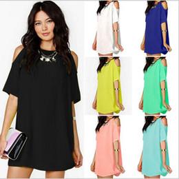 Wholesale Wholesales Midi Dresses - Summer Fashion Dresses Short Sleeve Loose Dresses Women Chiffon O Neck Dress Sexy Beach Dress Solid Slim Mini Dress Tops Women Cloth YYA228