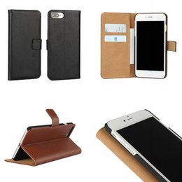 Wholesale Iphone Cases Real Leather Wallet - Luxury Genuine Wallet Leather Case For Iphone X 8 I8 7 Plus I7 Iphone8 Pouch Credit ID Card Money Real Stand Colorful Phone Skin Cover 1pcs