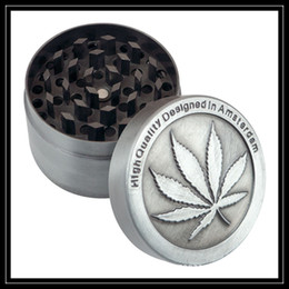 Wholesale Metal Maple Leaf - High Quality Zinc Alloy Smoking Grinders 4 Parts Amsterdam Metal CNC Grinder 40mm 50mm Diametre Maple Leaf Shaped Grinder Crushers