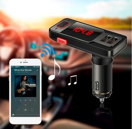 Wholesale Dual Aux - New style BT719 Wireless Bluetooth Speaker Car Kit LCD FM Transmitter MP3 Dual USB Charger Support USB AUX TF Handsfree