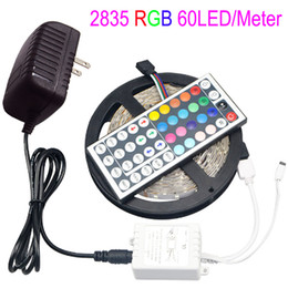 Wholesale Rgb Light Strip Adapter - 5M LED RGB Strip Light 2835 SMD 300LEDs 44 Keys Remoter Controller 12V 2A Power Adapter for DIY Indoor Decoration Lamp Tape Lighting