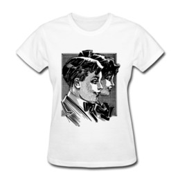 Wholesale Boy T Shirt Retro - Retro trendy womens T-shirts short-sleeved O-collar white tees for ladies black & white painting printed tshirts Boy and Girl