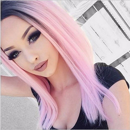 Wholesale Remy Bob Wig - T1b Pink Ombre BOB Full Lace Human Hair Wigs For Black Women Two Tone Lace Front Wigs Virgin Remy Hair Natural Hairline