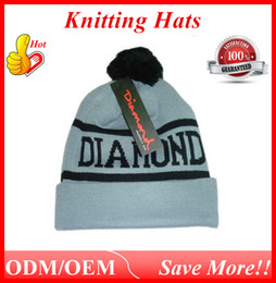 Wholesale Hiphop Skull Cap - Diamond Beanies 2016 Cap Autumn Winter Kntting Hats Hiphop Sports Outdoor Warm Caps Acrylic Beanie Skull Caps Black Clay ouc010