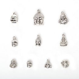 Wholesale Silver J Charms - Free shipping New Wholesale 75pcs Mixed Antique Silver Plated Zinc Alloy Avalokitesvara Buddha Charms Pendants DIY Metal Jewelry Findings j