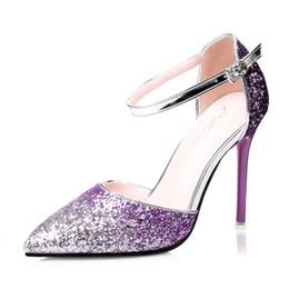Wholesale Sparkling High Heel Stilettos - Luxury Woman New Fashion Sparkle Sequins Bridal Shoes Elegant Woman High Heel Stiletto Heel Party Prom Wedding Shoes for Woman