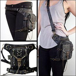 Wholesale Thigh Pack Waist Belt - Women Men Vintage Retro Rock Leather Messenger Bag Steampunk belt bags Motorcycle Leg Thigh Hip Holster Waist Belt Packs