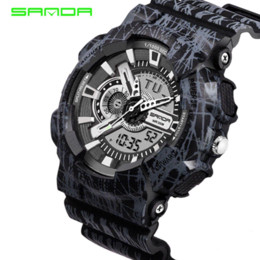 Wholesale Diver S Wristwatch - Sanda S Shock Men Sports Watches 50M Dive LED Digital Military Watch Fashion Outdoor Wristwatches Waterproof Digital-watch 80 G