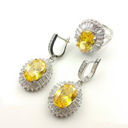 Wholesale Yellow Gold Engagement Ring 18k - Newest Gold Yellow Garnet White Topaz Jewelry Sets Silver Earrings Rings Size 7 8 9 For Women Free Gift Box