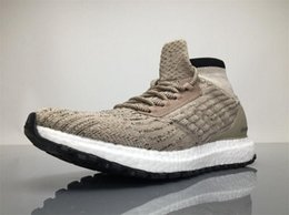 Wholesale Mens Burgundy Boots - 2017 Ultra Boost ATR Mid Trace Khaki CG3001 Running Shoes Real Boost Endiess Energy Sneakers for Mens 4 Colors Oreo MID Boots Ultraboost