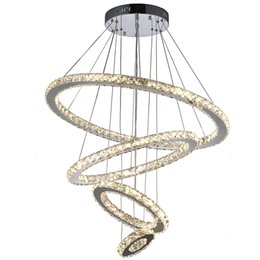 Wholesale Crystal Ceiling Chandelier - VALLKIN® Modern Crystal Chandeliers Pendant Light Ceiling Lamp Lighting Fixtures for Indoor Home Hotel Bar KTV with 4 Rings 73W