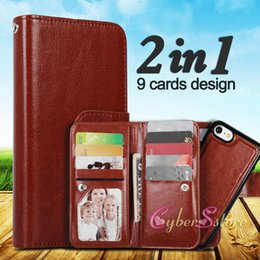 Wholesale Iphone Cases Bags - For iphone X 7 6 2in1 Wallet Leather Case Cover With Magnetic Detachable 9 Card Slots Phone Bag For iphone 8 plus