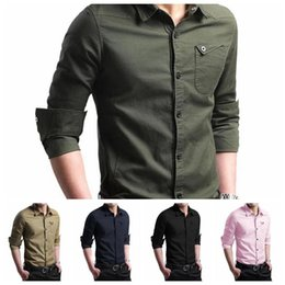 Wholesale Fashion Clothing Summer Youth - Men Long Sleeve Blouse Summer Slim Fit Tops Casual T Shirt Youth Fashion Camisas Masculinas Clothing 5 Colors OOA3227