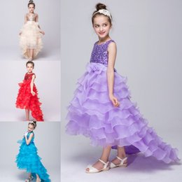 Wholesale Hi Low Tops - Princess Fuchsia Lavender High Low Ruffles Girls Pageant Dresses 2018 Cheap Flower Girl Dresses A Line Crew Neck Sequins Top MC0520