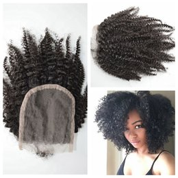 Wholesale Hair Extensions Full Lace Closure - Full Lace Closure 4x4inch lace middle part 8-22inch afro kinky curly hair extensions Mongolian Human Hair closure G-EASY