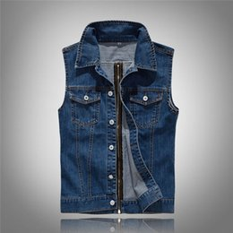 Wholesale Cow Boy Jackets - Wholesale Lapel Denim Vest Jacket Hip hop cow boy Waistcoat denim Outerwear zipper vest motorcycle club vest jacket plus US size XXS-L