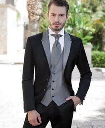 Wholesale Mens Three Button Suits - Grey Silver Mens Suits 2016 wedding suits for groom Tuxedos Grooms Suits 2015 Two buttons three pieces groomsmen suits(Jacket+Pant+vest+tie)