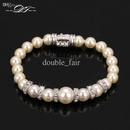 Wholesale Platinum 5r - Imitation Pearl Platinum Plated Chaim Bracelets Fashion Jewelry For Women Christmas Gifts Austrian Crystal & Cubic Zirconia Diamond DFH151