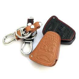Wholesale Jeep Cherokee Stickers - Top quality ! leather car key covers case stickers for jeep wrangler grand cherokee compass patriot car parts accessorie
