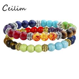 Wholesale Stretched Bracelets - 2017 Fashion Stone Bracelets 7 Reiki Chakra Healing Balance Beads Bracelet For Women Prayer Balance Beads Bracelet Stretch Yoga Jewelry