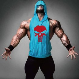 Wholesale Gym T Shirts For Men - Men's Loose Active Fitness Hooded Tank Tops For Men Print Beauty Bodybuilding Workout Gym Sports Sleeveless T-Shirts Vests Undershirt Tanks