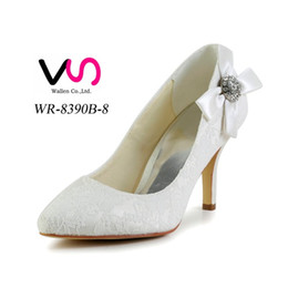 Wholesale Toe Shapes For Pumps - 2016 Ivory Lace Pump Toe Bow Elegant Style Bridal Shoes Wedding Dress Shoes Handmade Shoes for Wedding From Size35-Size 42 Free Shipping