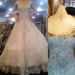 Wholesale Maternity Off Shoulder Wedding Dresses - Off-Shoulder Sequined Beading Crystals Wedding Dresses Ruched Cathedral Train Handmade Flowers Wedding Gowns 2016 Spring White Bridal Dress