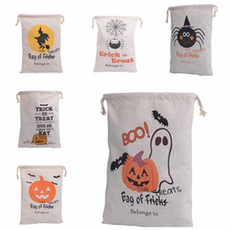 Wholesale Halloween Party Treats - 2017 Halloween Candy Gift Sack Treat or Trick Pumpkin Printed Bat Canvas Bag Children Party Festival Drawstring Bag 9styles