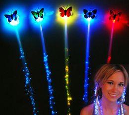 Wholesale Butterfly Light Bulb - 2016 New Butterfly Colorful Braid Flash Braid Luminous LED Hearwears Hairpin Headdress Masquerade Festival Props Light Fiber Optic Christmas