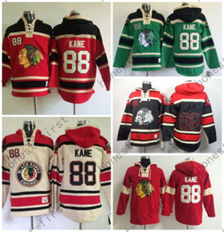 Wholesale Full Hoodies - Cheap Price 88 Patrick Kane Chicago Blackhawks Hoody Red Green Black Green Kane Old Time Hooded Pullover Ice Hockey Hoodies