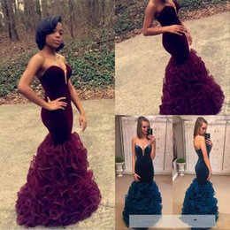 Wholesale Velvet Fitted Dresses - 2016 Burgundy Mermaid Prom Dresses Long Sexy Sweetheart Neck Ruffles Organza Skirt Slim Fitted Formal Evening Gowns Women Party Dresses
