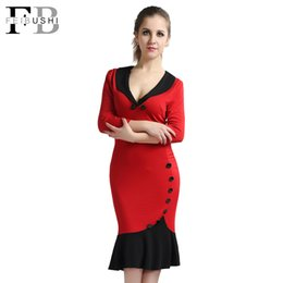 Wholesale Three Quarter Length Sleeve Dresses - Autumn Dress 2017 Women V-Neck Fishtail Pencil Patchwork Casual Office Work three quarter Sleeve Red Bodycon Vintage Midi Dress