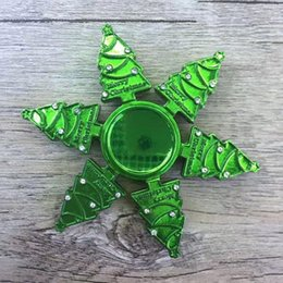 Wholesale Christmas Trees Toys - Metal Diamante Christmas Tree Spinners Zinc Alloy Fidget Spinners Merry Christmas Hand Spinner EDC Decompression Fidget Toys