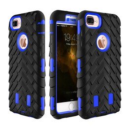 Wholesale Robot Silicone Hard Pc - For iphone 7 6 6s 5 plus Colorful 3 in 1 Tire Robot Hybrid Hard plastic PC Silicone Soft Case Cover Skin mix order