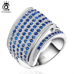 Wholesale New Finger Rings - 2017 New Arrival Brilliant Sapphire CZ Finger Rings on Platinum Plated Trendy Ring for Ladies OR91
