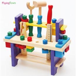 Brinquedos do bebê Crianças De Madeira chave Multifuncional Tool Set Caixa De Manutenção De Madeira Brinquedo Do Bebê Porca Combinação Chirstmas / Presente de Aniversário de