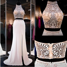 Wholesale Pictures Crops - Ivory Two Pieces Dresss Prom Gowns High Beaded Neck Halter Open Back Slit Illusion Crop Top Mermaid Prom Dresses Party Gowns