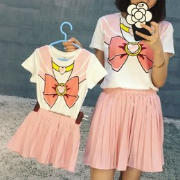 Wholesale Short Blue Skirt Cartoon - 2016 fashion short-sleeve t shirt &skirt clothes set matching family clothing set for mother daughter family look cute cartoon Sailor Moon