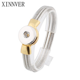Wholesale Clasp Magnets - Xinnver Snap Jewelry 18mm Snap Button Bracelet &Bangles Vintage Silver Snap Bracelet Magnet Charm Bracelet For Women