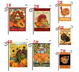 Wholesale Flag Turkey - Thanksgiving Garden Flag Banner Turkey Party Home Decor Outdoor Hanging Polyester Garden Flags Thanksgiving Day Decorations 30*45cm