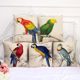 Wholesale parrot covers - Animal Bird parrot pillow Case Cushion cover Pillowcase Cover Square linen cotton soft pillowslip beddng sets 240579