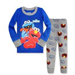 Wholesale Sesame Street Clothes - 6 sets New Children Girls Sesame Street Pajamas suit Cartoon Sleepwear set Home Clothing Nightgown Pijamas baby toddler clothing