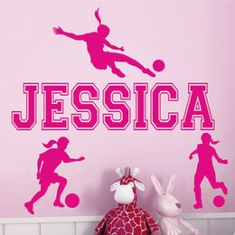 Wholesale Personalized Names Stickers - Custom personalized name girl soccer sports wall stickers living room bedroom home decor wallpaper mural 56*33 cm