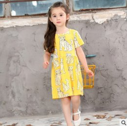 Wholesale Girls Clothing Leopard Print Dress - Children dresses fashion girls leopard printed princess dress ins kids crazy animal short sleeve dress kids summer clothing T0310